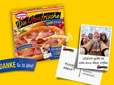 Pizza kaufen und Postkarte gratis erstellen
