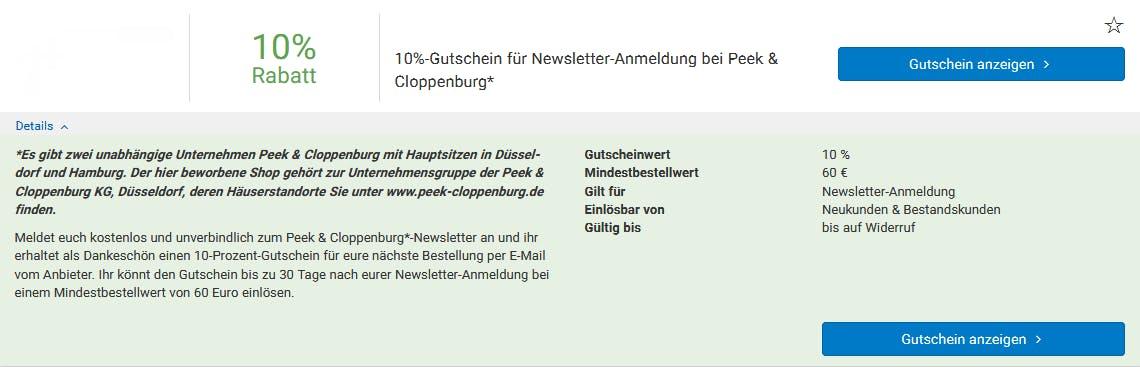 54f96df33da95a Peek   Cloppenburg  Gutschein • 50% Rabatt • %monthShort% %year%