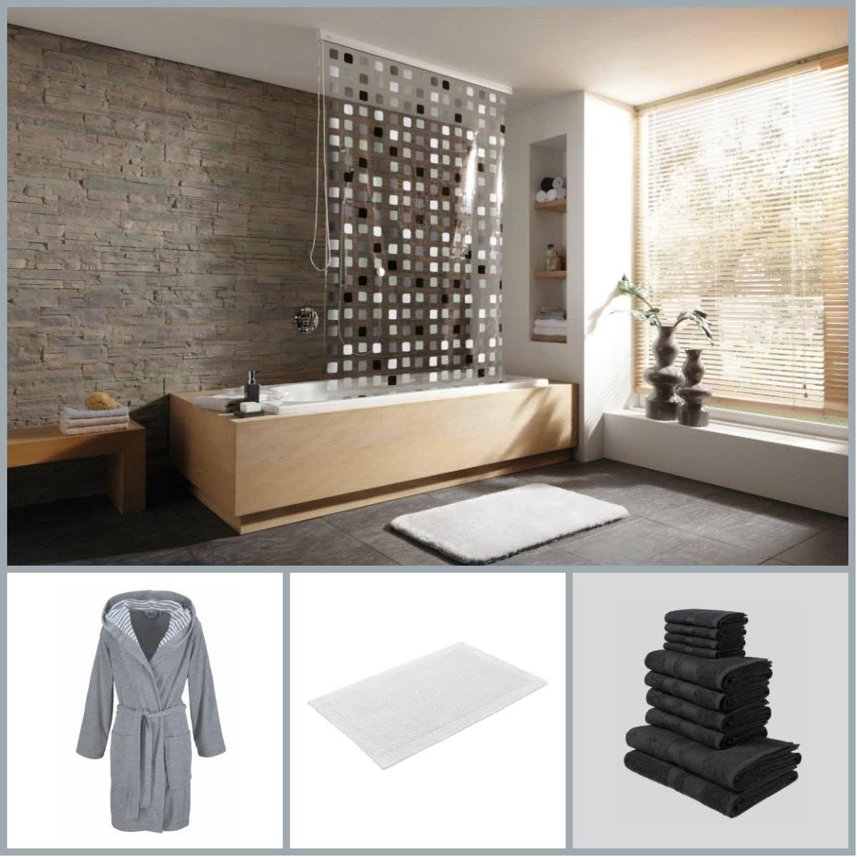 Duschvorhang, Bademantel, Handtücher und Co. für die erste eigene Wohnung