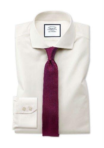 Cremefarbenes Hemd aus reiner Baumwoll-Popeline