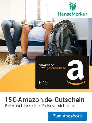 15€ Amazon.de-Gutschein zur Reiseversicherung bei HanseMerkur sichern.
