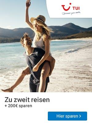 200€ bei TUI sparen bei einer Reise zu zweit.