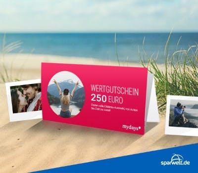 Nehmt jetzt am Frühbucher-Gewinnspiel teil und sichert euch die Chance auf einen 250€-Geschenkgutschein für mydays.