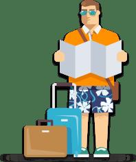 Frühbucher auf dem Weg in den Urlaub