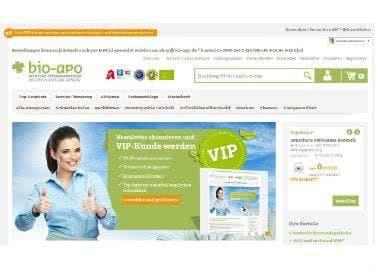 Auf der bio-apo-Startseite findet ihr Neuheiten und Angebote