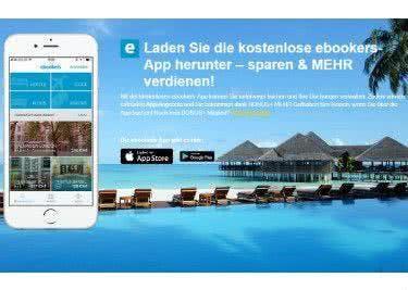 Auch über die App kannst du mit einem Gutschein von eBookers sparen