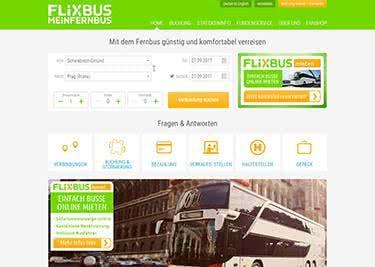 So sieht die Startseite von MeinFernbus aus