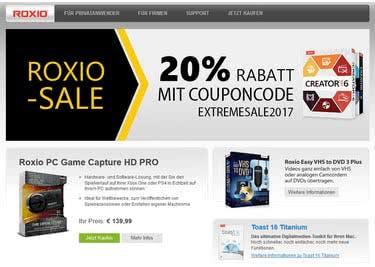 Bestelle mit einem Roxio-Gutschein Software zum Sparpreis