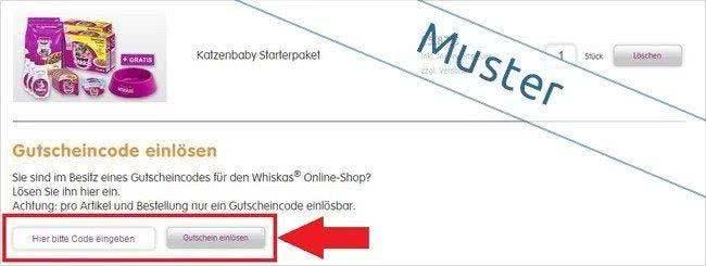Whiskas-Gutschein im Warenkorb eintragen und sparen!