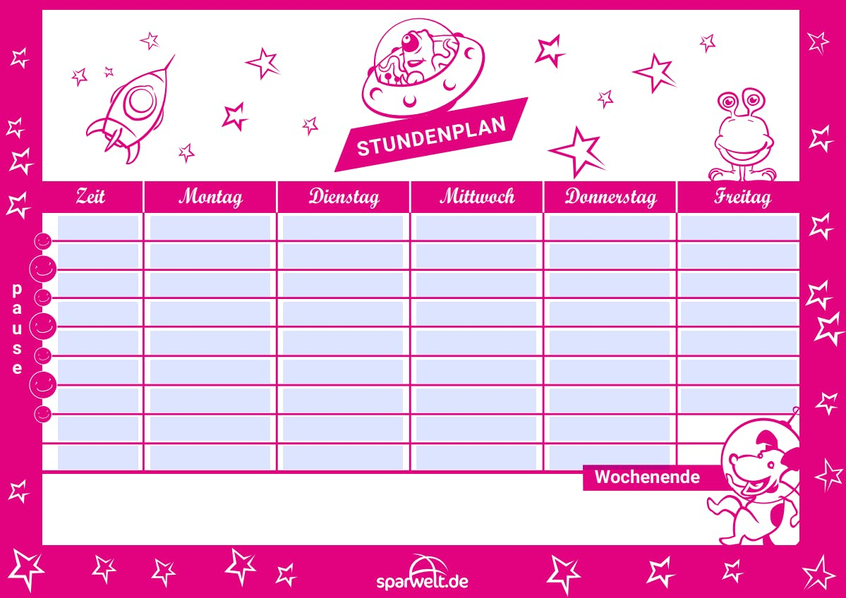 Kostenloser SPARWELT Stundenplan pink
