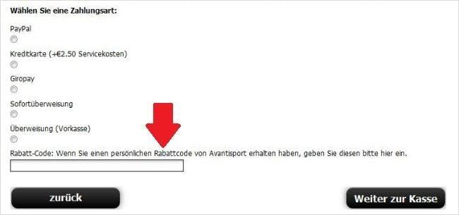 Beim Bestellen den Avantisport.de-Gutscheincode nicht vergessen!