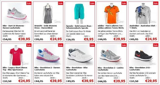 Sportkleidung und Schuhe im Sale bei Avantisport.de
