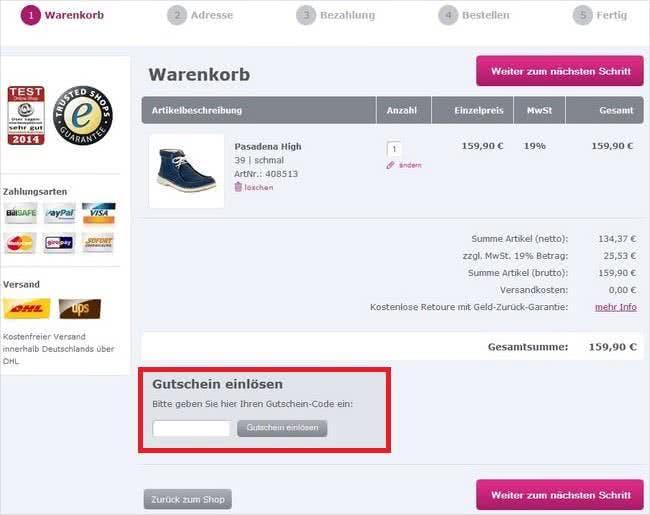 Im Warenkorb von Bessergehen.com könnt ihr ganz einfach euren Gutschein einlösen.