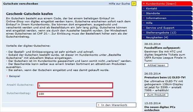 Einen Digitec.ch Geschenkgutschein im Wert von 20 Euro oder mehr direkt online bestellen