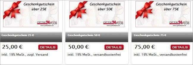 Geschenkgutscheine von Optik24plus