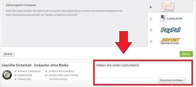Gutschein einlösen bei Tapetenmax.de