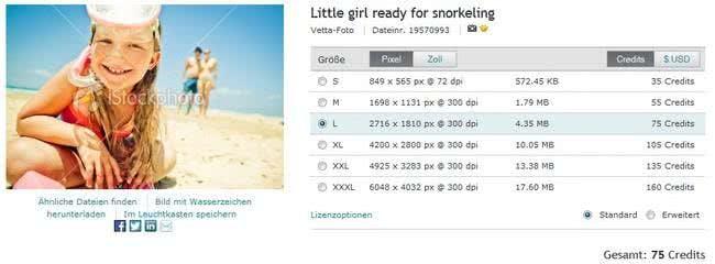 Wahl der Dateigröße bestimmt den Preis bei iStockphoto