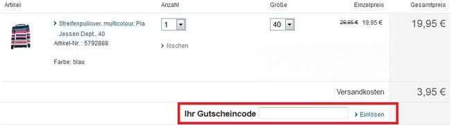 SinnLeffers-Online-Shop Gutschein Eingabe