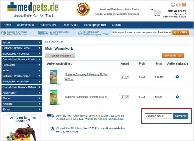 Gutschein einlösen bei Medpets.de