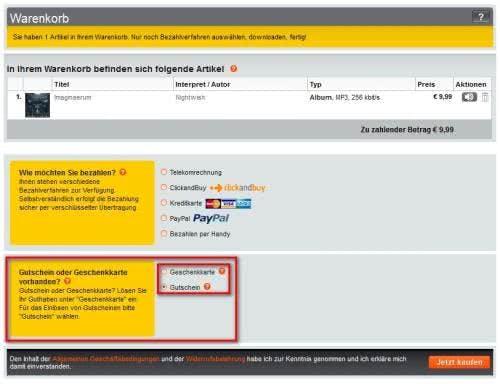 Wählt in eurer Warenkorb-Übersicht die Zahlung per Musicload-Gutschein aus