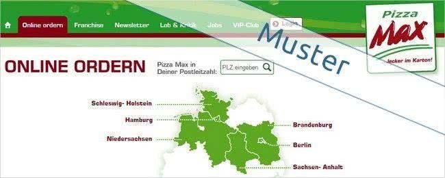 Das Liefergebiet von Pizza Max umfasst Berlin, Hamburg, Kiel, Potsdam, Magdeburg und Osnabrück