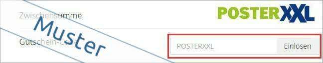 PosterXXL-Gutscheincode im Warenkorb einlösen und sparen