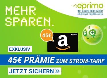 45€ Prämie beim Wechsel zu eprimo