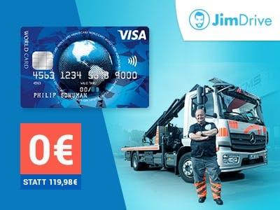 2 Jahre kostenlos: Jimdrive Premium-Pannenservice  + gratis ICS Visa World Card