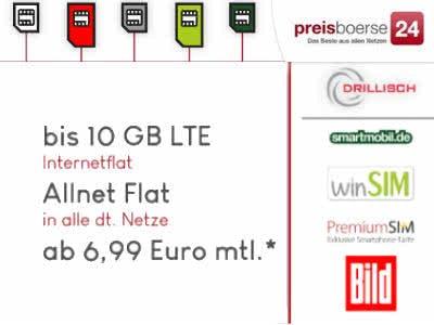 Handy-Tarife ab 6,99€ mit bis zu 10GB LTE + Allnet-Flat