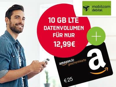 Internet Flat 10.000 LTE für 12,99€ + 25€-Amazon.de-Gutschein