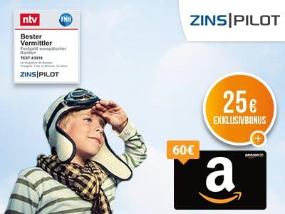 25€ Sofortbonus + 60€-Amazon.de-Gutschein bei ZINSPILOT