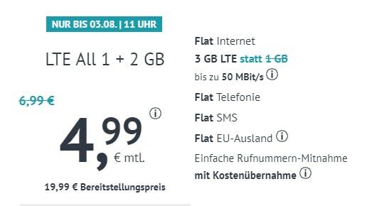 3 GB LTE Allnet-Flat für nur 4,99€ mtl.!