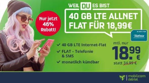 40 GB LTE + Allnet- und SMS-Flat für nur 18,99€ mtl. (mtl. kündbar)