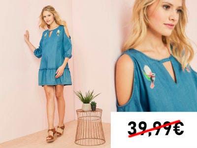 Nur 11,95€: Besticktes Umstandskleid